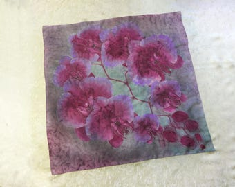 Hand painted Silk scarf Square chiffon scarf Red flowers orchid painting Gray Shawls scarves Colorful floral scarf Handpainted silk scarf