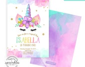 Rainbow Unicorn Birthday Party Invitation Design, Gold Glitter and Watercolors, Unicorn Birthday decor - Double Sided Printable Design