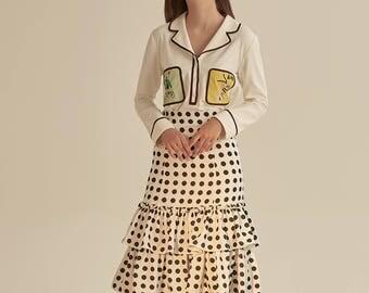 Fine Art Collection white sketch cute shirt/white black dot petal layers skirt