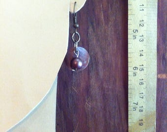 Polished Brown Shell Disc and Bead Charm Drop Earrings