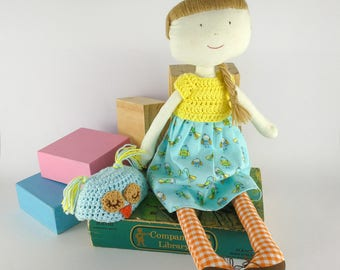 Juliette, the Cute Hat Doll - heirloom doll - cloth doll - fabric and crochet doll - animal hat doll
