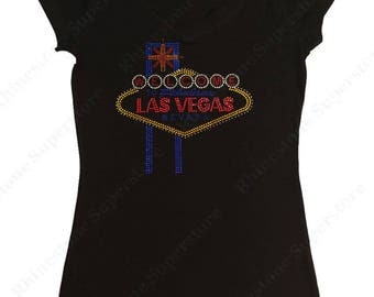 "Women's Rhinestud T-Shirt "" Welcome to Las Vegas "" in S, M, L, 1x, 2x, 3x"