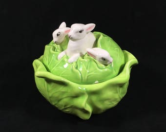 Cabbage Bowl with Bunny Rabbit Lid, Vintage Majolica Style Ceramic Pottery Bowl, Farmhouse Style Decor