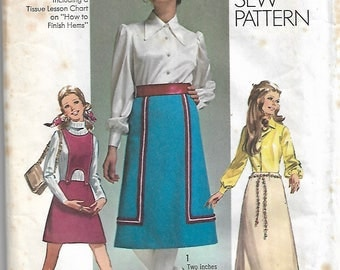 "Vintage 1970 -  Simplicity 8965 - Retro Skirt In Three Lengths -  Detachable Bib -  Sewing Pattern Size 12 Waist 25.5"""