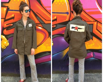 Army Jacket Shirt Embellished with Handmade Patches / Upcycled Military Boho OOAK Grunge Top