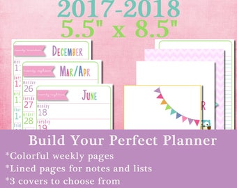 Printable 2017-2018 Academic Year Weekly Planner for half size/junior notebooks
