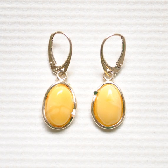 Sterling Silver Butterscotch Amber Lever Back Earrings #9322