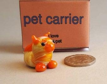 Apricat the ginger cat, mini glass figure, glass cat, ginger cat, fun accent,