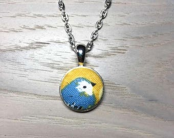 Blue bird design-Fabric Covered Button necklace/pendant /Silver necklace/Circle pendant/Button jewelry/Blue Yellow White