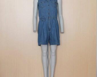 Vintage Denim Jumpsuit Sleeveless One Piece Romper Pants Blue Jean Overalls  Pantsuit  Small  Size