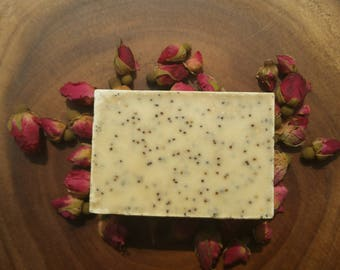 Organic Handcrafted Cold Processed Soap, Rose and Lavender, (One) 4oz solid bar soap, Gifts for her. Handmade Artisan Natural Soap.