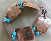 Women's large link copper bracelet - Turquoise bracelet - Handmade - Asian inspired - Link bracelet