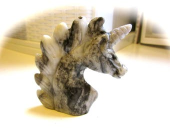 Crazy Lace Agate Unicorn Carving 52mm 32g