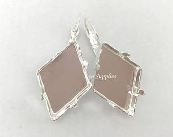 Rhombus Earrings Settings, Fits Swarovski Crystal 24x17mmTilted Spike 4929 Nickel-Free Earrings
