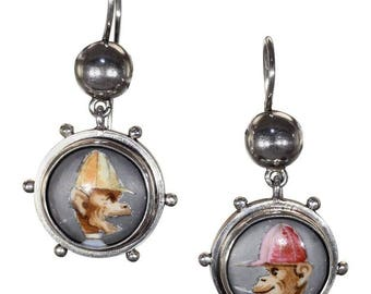 Victorian Monkey Enamel Silver Earrings