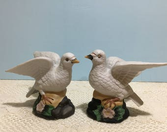 Dove Figurine ~ Set of 2 ~ Vintage White Doves ~ Porcelain ~ Open Wings ~ Birds on a Branch ~ Collectible