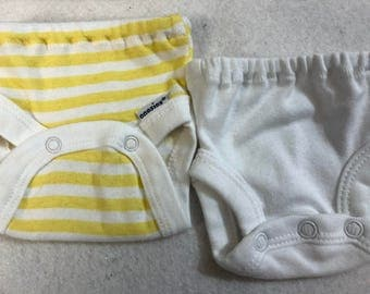 Baby Doll Diaper Covers, Panty, 15 inch AG Bitty Baby Clothes or Twin, Fits 16 inch Cabbage Patch, SET of 2 for 3.00, YELLOW Stripe & White
