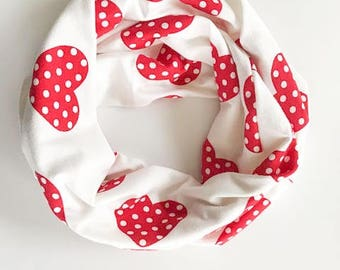 Heart Scarf Child Scarf Infant Scarf Toddler Scarf red Hearts Scarf Valentine's day scarf red Infinity Scarf red white jersey knit scarf