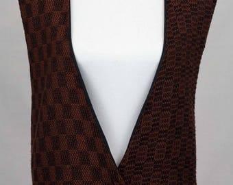 Vintage Black Checkered Patterned Vest Size M/L