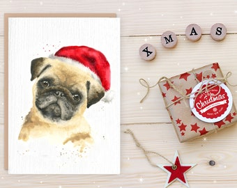 christmas pug card, christmas animal cards, dog christmas cards, pug gifts, pug card, handmade card, christmas card, dog card, watercolor
