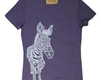 Womens TShirts - Zebra Tee - Womens Animal T Shirt - Purple Womens Tees - Camera Tshirts - Purple Womens Shirt - Funny Animal Tshirts
