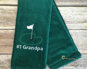 Grandpa Golf Towel, Grandpa Embroidered Tri Fold Golf Towels