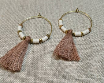 White Bone and Brown Tassel Brass Hoop Earrings / Tribal Earrings / Boho Chic / Minimalist / Geometric - ETHC01WT