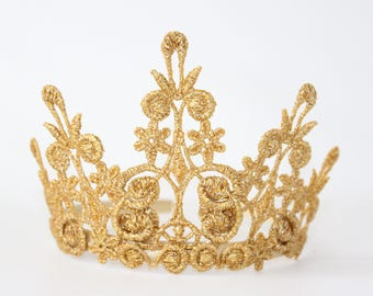 Gold lace Tiara Crown - Quinn - Tiara - Princess - Birthday - Flower Girl - Bridesmaid - Photo Prop