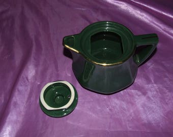 French Ceramic Revol Teapot Green with Gold Trim appx. 1950's