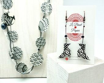 """Boucles d'oreilles origami """"Noir et Blanc"""", cocottes en papier japonais washi, origami earrings"""