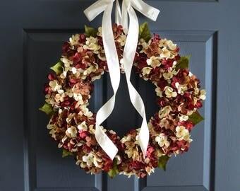 Wreaths | Hydrangea Wreath | Spring Wreath | Front Door Wreaths | Wreath | Farmhouse Style Wreath Decor | Summer Wreath | Front Door Decor