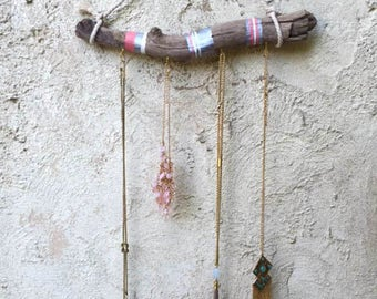 Boho driftwood jewelry display wall hanging