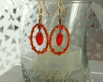 Czech Glass and Swarovski Earrings - Vivid Orange