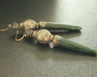Green Spikes - Bohemian Earrings - Ceramic Daggers - Vintage Charms - Lightweight Earrings - Tribal Gypsy Rustic - Long - Handmade Earrings