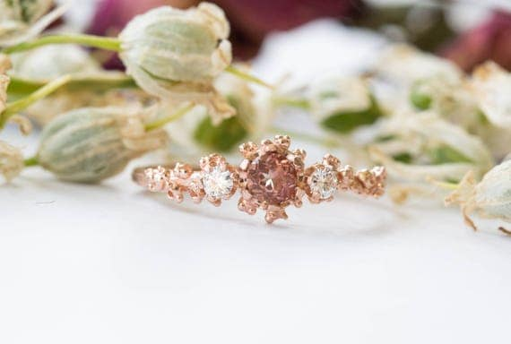 Sunstone and moissanite barnacle gold engagement ring, twig nature engagement ring, gold diamond ring