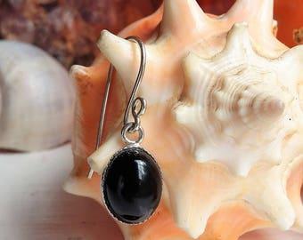 Sterling Silver Black Onyx Bezel Cup Drop Dangle Earrings