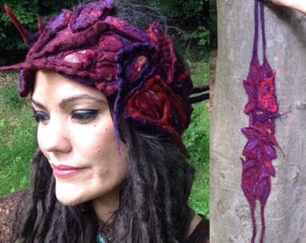 The 'StarGazer' Dread Wrap, Hippie Faery Headband with Embroidered Leaves, Elven, Pixie Nature Inspired Festival Hair, Felted Wearable Art