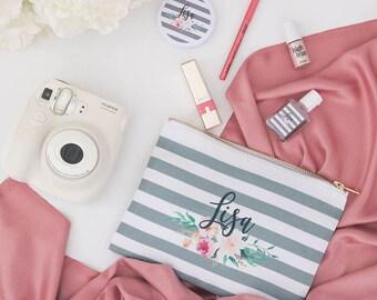 Personalized Name Striped Cosmetic Bag - Wedding Bags,Monogram Makeup Bag, Bridal Custom Cosmetic Bag, Personalized toiletry bag, pencil bag