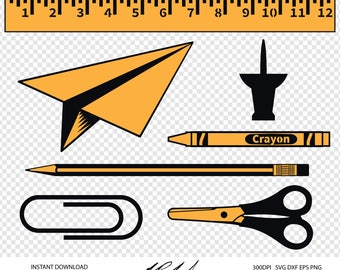 Office Supplies Digital Cut Files - Digital Files - Office Supplies SVG - Office Supplies DXF - EPS - Scissors png - School Supplies Clipart