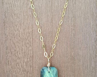 Faceted Labradorite Stone Pendant Necklace 18K Gold Plated over 925 Sterling Silver / Gold Vermeil / Labradorite Necklace / Boho Jewelry