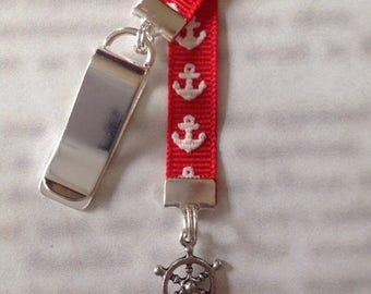 ON SALE Ships Wheel Bookmark / Anchor Bookmark / Boating Bookmark - Clip to book cover then mark page with the ribbon. Never lose your bookm