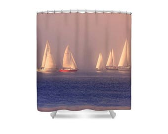 Boat Shower Curtain, Sailboat Shower, Sailing Decor, Gift for Sailor, Sailboat Decor, Sailing Gift, Ocean Decor, Sea Theme Bathroom