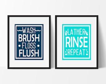 Wash Brush Floss Flush Print, Bathroom Rules, Bathroom Decor, Kids Bathroom Art, Bathroom Sign, Lather Rinse Repeat, Childrens Bathroom