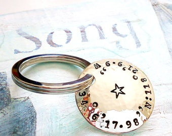 Silver Your coordinates Solid Silver Keyring  50th birthday  location  gift for husband  wedding gift latitude