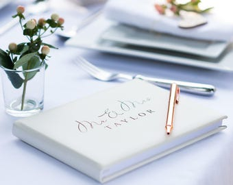 Ivory Leather Mr & Mrs Guest Book, Pale Ivory Leather Guest Book, Wedding guest book, A5 or A4 (OHSO052 - LR)
