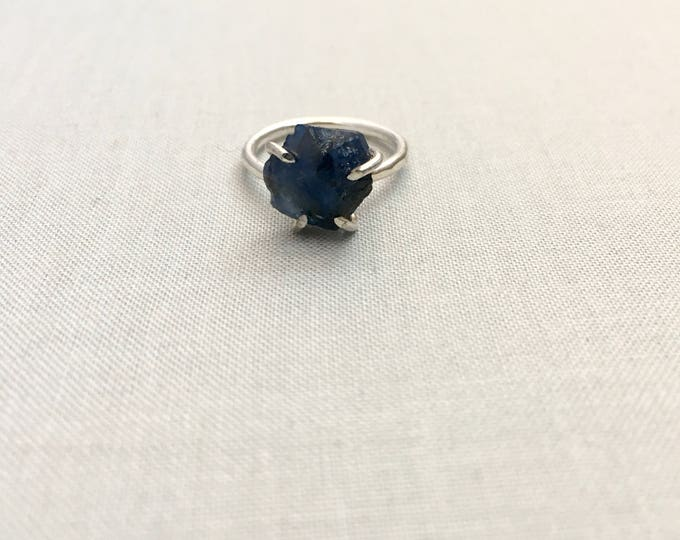 Catalina Ring - Sapphire / California Collection // raw sapphire ring, sterling silver, boho jewelry, raw gemstone ring, blue crystal ring