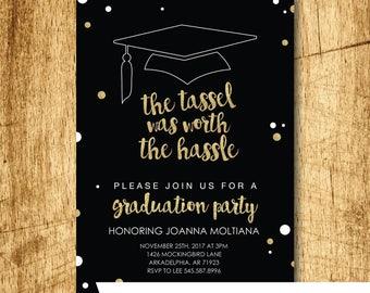 "The  Tassel was Worth the Hassle Graduation Party Invitation  |  Grad Invite Instant Download  |  Editable PDF  |  5x7"" A7"