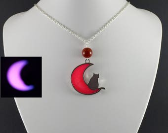 Celestial jewelry Cat lover gift Moon necklace animal wildlife cat necklace Girls necklace Halloween Gift For Girlfriend Pink necklace