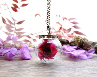 Real rose necklace, gift for woman, bottle necklace, terrarium jewelry, anniversary gift, glass orb necklace, dried flower, nature pendant