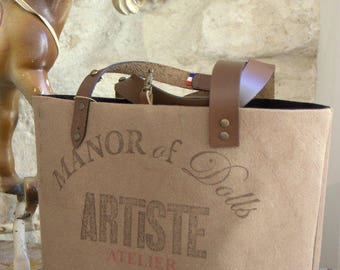 "Medium brown ""Artist workshop"" tote bag"